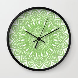 Light Lime Green Mandala Simple Minimal Minimalistic Wall Clock