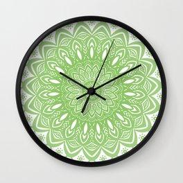 Light Lime Green Mandala Simple Minimal Minimalistic Wall Clock