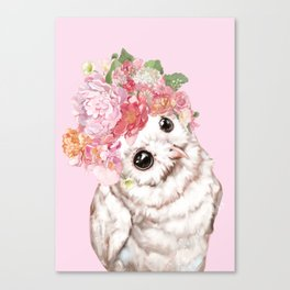 Snowy Owl with Flowers Crown Canvas Print