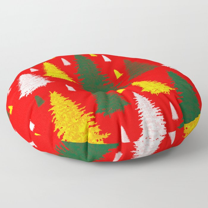 green gold silver Christmas trees on red background Floor Pillow