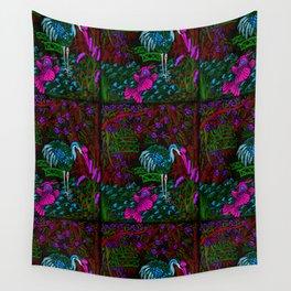 Asian Bamboo Garden in Black Velvet Watercolor Wall Tapestry