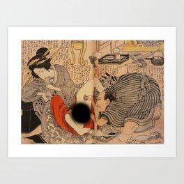 Ahegao Hentai Geisha Girl Ukiyoe Art Print