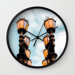 Urban Lights at LACMA, Los Angeles, California, USA with blue sky Wall Clock