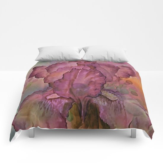 Deep Pink Watercolor Iris Comforters