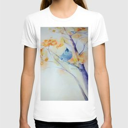 Nuthatch Aspen Morning Looking Up watercolour by CheyAnne Sexton T-shirt