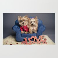 yorkie Area & Throw Rugs featuring Yorkie Love - Pet photography by Portrait Griffé par Geneviève Lacombe