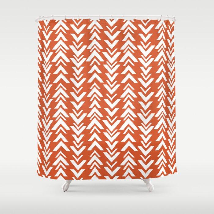 Burnt Orange Tribal Arrow Print Shower Curtain