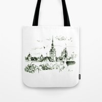 medieval Tote Bags featuring Medieval landscape. by LaDa