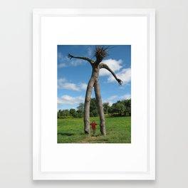 Tiny Boy and Tree Man Framed Art Print