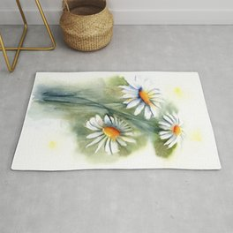 Watercolor daisies Rug