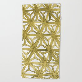 Gold Asanoha Beach Towel