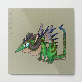 Dragon Spines- Green Metal Print