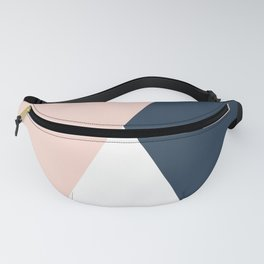 Elegant blush pink & navy blue geometric triangles Fanny Pack