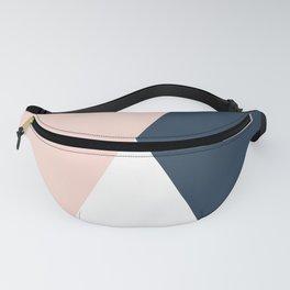 Elegant blush pink & navy blue geometric triangles Fanny Pack