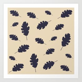 Fall pattern blue oak leaves Art Print