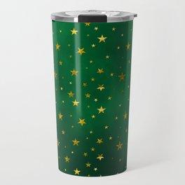 Golden stars on vivid green Travel Mug