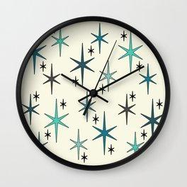 Mid Century Modern Star Sky Turquoise Wall Clock