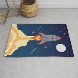 SPACE ROCKET illustration Rug