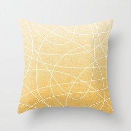 Scribble Linen - Sunflower Yellow Throw Pillow