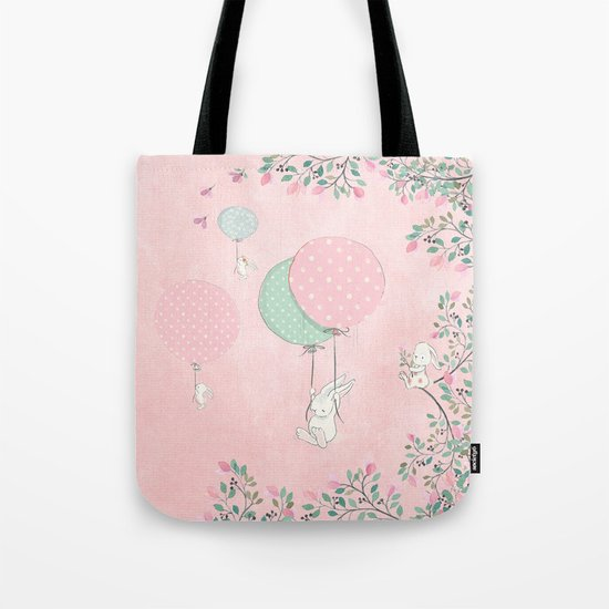 Cute flying Bunny with Balloon and Flower Rabbit Animal on pink floral backround Tote Bag