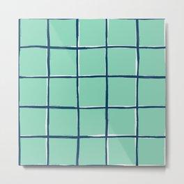 Aqua blue plaid, pool tiles pattern, tartan Metal Print