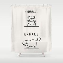 Inhale Exhale English Bulldog Shower Curtain