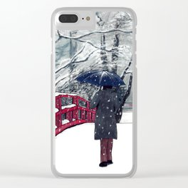 Footprints in Snow Clear iPhone Case