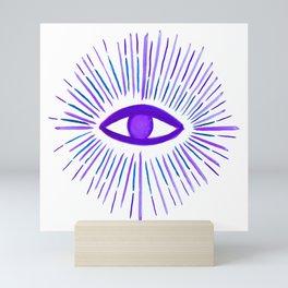 All Seeing Eye in Violet Purple Watercolor Mini Art Print