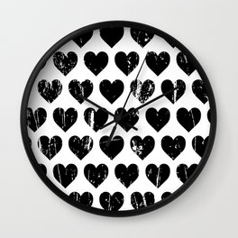 Hearts Pattern | Minimalism | Black-and-White | Modern | Love Wall Clock
