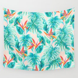 Tropical Paradise Pale Peach Wall Tapestry