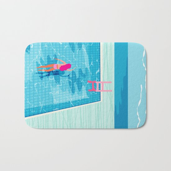 In Deep - memphis throwback swimming athlete palm springs resort vacation country club infinity pool Bath Mat