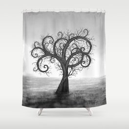 Golden Spiral Tree Black and White #2 Shower Curtain