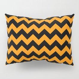 Large Black and Pumpkin Orange Halloween Chevron Stripes Pillow Sham