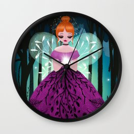 In The Ancient Forest The Woodland Fairy Walks Wall Clock