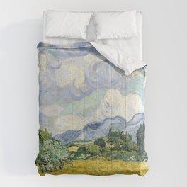 Wheatfield Wth Cypresses Van Gogh July 1989 Comforters