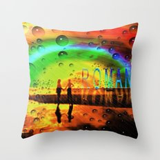 Romantic Sunset Reflections and Rainbow Throw Pillow