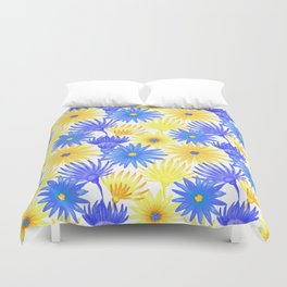 Modern blue yellow watercolor hand painted flowers Duvet Cover