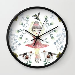 Dance in the flowers Wall Clock