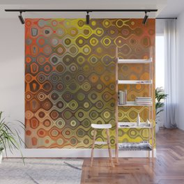 Wobbly Dots in yellow-orange Wall Mural