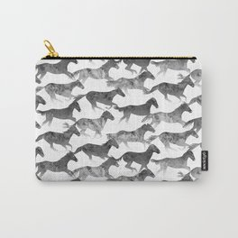 Running Watercolor Horses Ink Black Carry-All Pouch