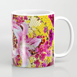 ABSTRACTED FUCHSIA-PINK LILY & HOLLYHOCKS GARDEN Coffee Mug