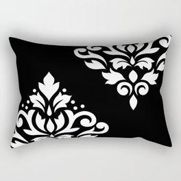 Scroll Damask Art I White on Black Rectangular Pillow