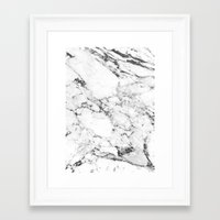 white marble Framed Art Prints featuring Marble by MatiasMilton