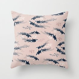 Orca in Motion / blush ocean pattern Throw Pillow
