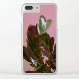 ZZ Plant on Pink (Zanzibar Gem) Clear iPhone Case