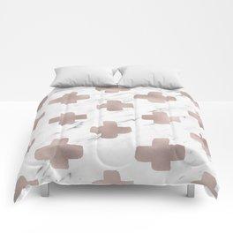 Rose gold marble - scandinavian cross Comforters