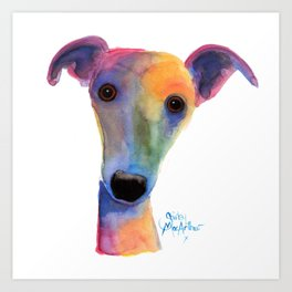 Nosey Dog Whippet Greyhound ' PANSY ' by Shirley MacArthur Art Print