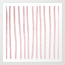 Simply Drawn Vertical Stripes in Rose Gold Sunset Art Print