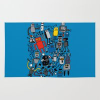 robots Area & Throw Rugs featuring ROBOTS! by Chris Piascik