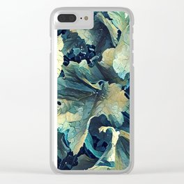Waved Leaves Clear iPhone Case